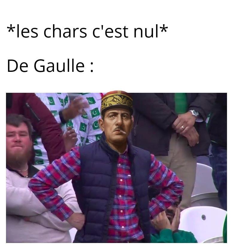 Meme sur les chars et Charles de Gaulle