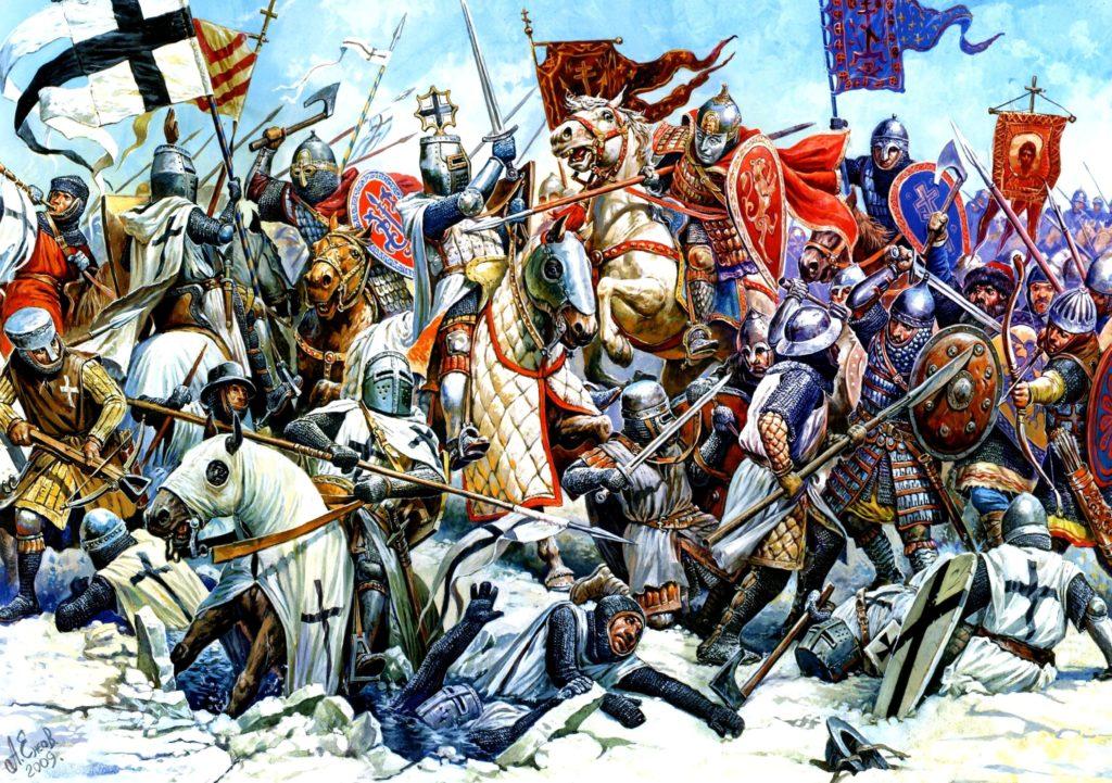 Mêlée générale entre teutoniques et russe à la bataille du lac Peïpour
