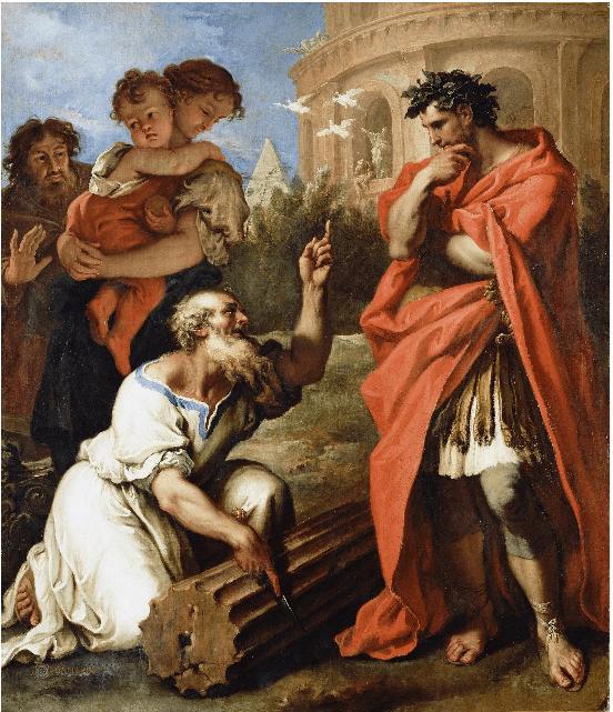 TARQUIN L'ANCIEN consulte-Attus_Nevius_the Augur Ricci Sebastiano