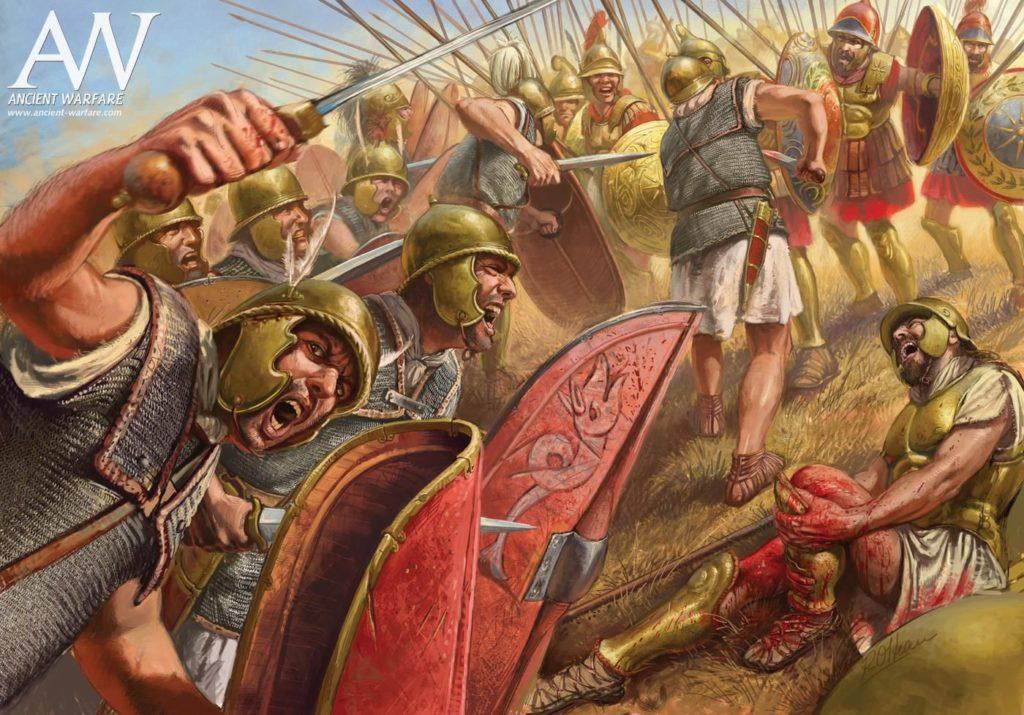 Bataille de la légion romaine contre les phallanges