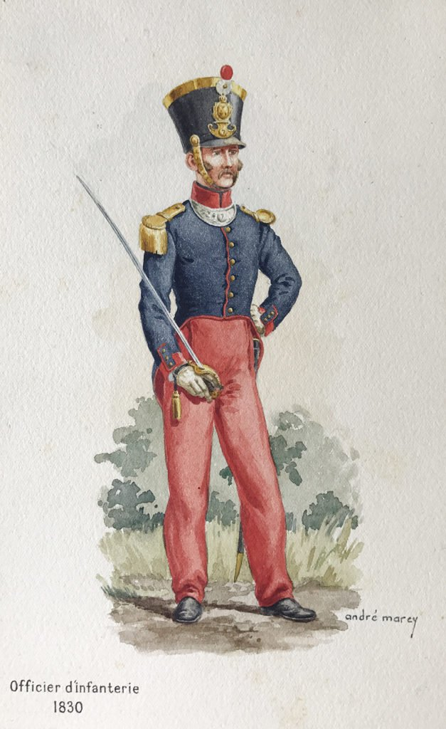 1830 uniformologie Officier infanterie