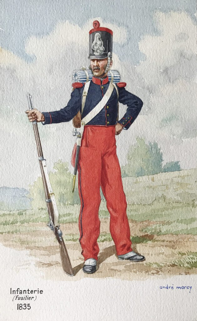 1835 uniformologie Fusilier d'infanterie