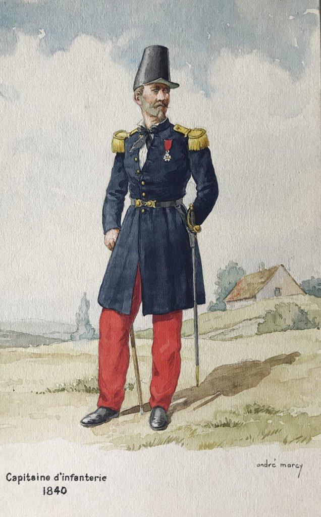 1840 uniformologie capitaine d'infanterie